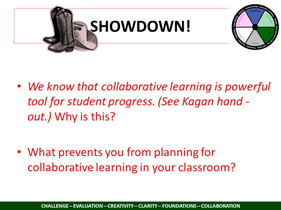 SHOWDOWN! CHALLENGE – EVALUATION – CREATIVITY – CLARITY – FOUNDATIONS – COLLABORATION We know that collaborative learning is powerful tool for student