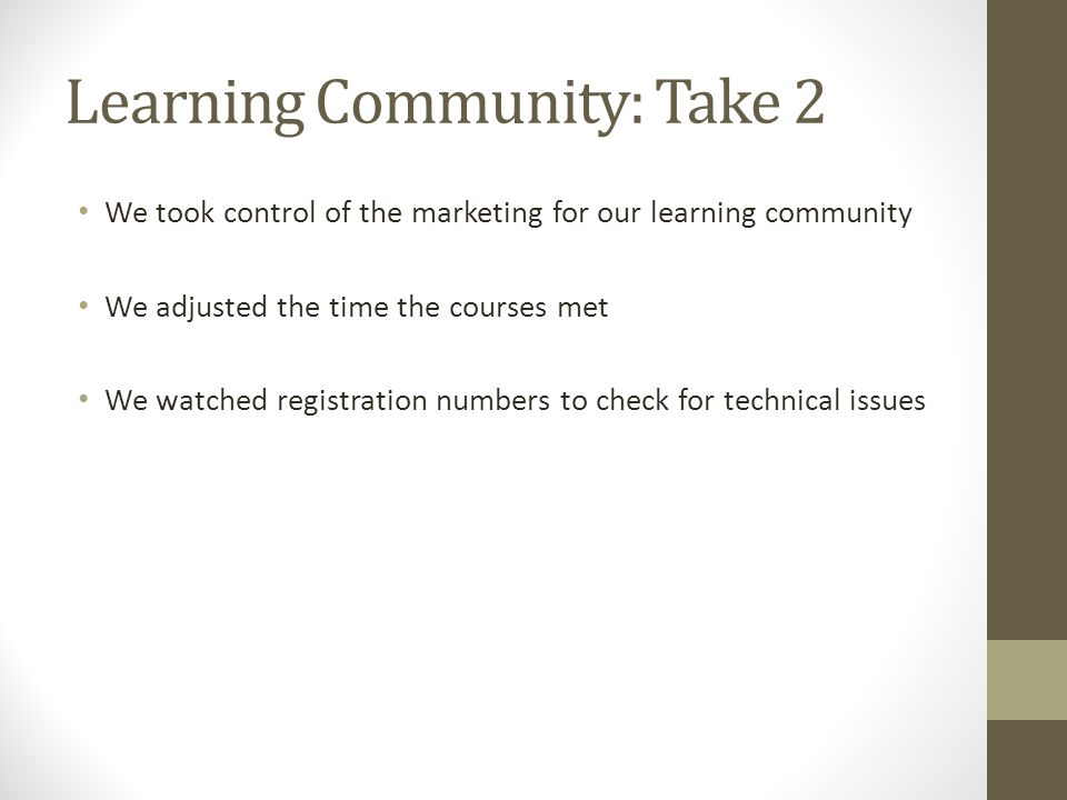 Learning Community: Take 2 We took control of the marketing for our learning community We adjusted the time the courses met We watched registration numbers to check for technical issues