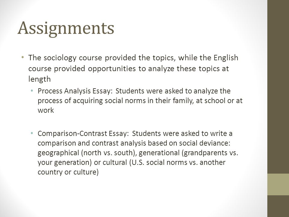 Assignments The sociology course provided the topics, while the English course provided opportunities to analyze these topics at length Process Analysis Essay: Students were asked to analyze the process of acquiring social norms in their family, at school or at work Comparison-Contrast Essay: Students were asked to write a comparison and contrast analysis based on social deviance: geographical (north vs.