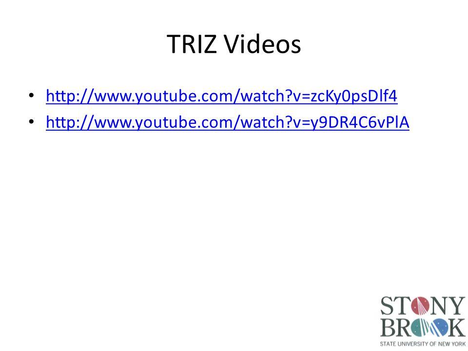 TRIZ Videos http://www.youtube.com/watch v=zcKy0psDlf4 http://www.youtube.com/watch v=y9DR4C6vPlA