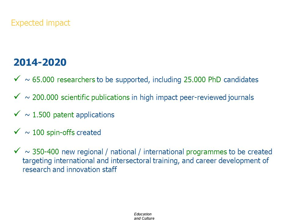 ~ 65.000 researchers to be supported, including 25.000 PhD candidates ~ 200.000 scientific publications in high impact peer-reviewed journals ~ 1.500 patent applications ~ 100 spin-offs created ~ 350-400 new regional / national / international programmes to be created targeting international and intersectoral training, and career development of research and innovation staff 2014-2020 Expected impact Education and Culture