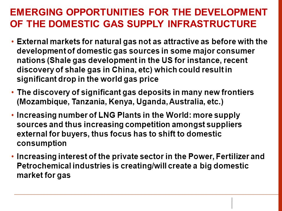 EMERGING OPPORTUNITIES FOR THE DEVELOPMENT OF THE DOMESTIC GAS SUPPLY INFRASTRUCTURE External markets for natural gas not as attractive as before with the development of domestic gas sources in some major consumer nations (Shale gas development in the US for instance, recent discovery of shale gas in China, etc) which could result in significant drop in the world gas price The discovery of significant gas deposits in many new frontiers (Mozambique, Tanzania, Kenya, Uganda, Australia, etc.) Increasing number of LNG Plants in the World: more supply sources and thus increasing competition amongst suppliers external for buyers, thus focus has to shift to domestic consumption Increasing interest of the private sector in the Power, Fertilizer and Petrochemical industries is creating/will create a big domestic market for gas
