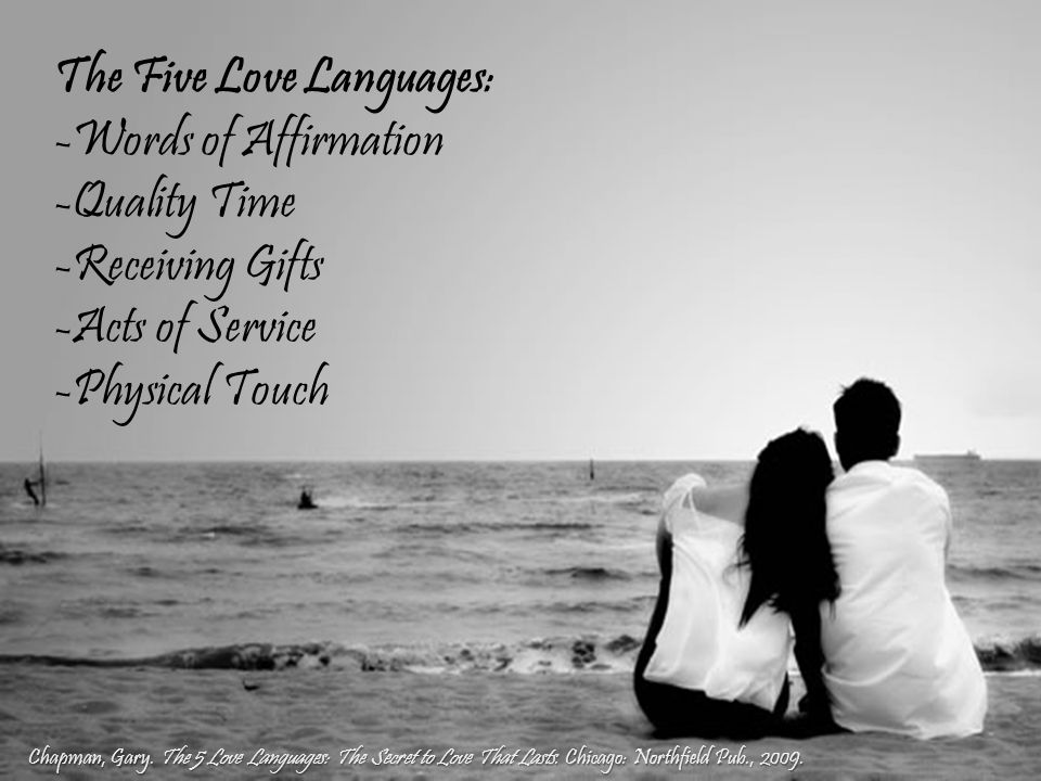 The Five Love Languages: -Words of Affirmation -Quality Time -Receiving Gifts -Acts of Service -Physical Touch Chapman, Gary.