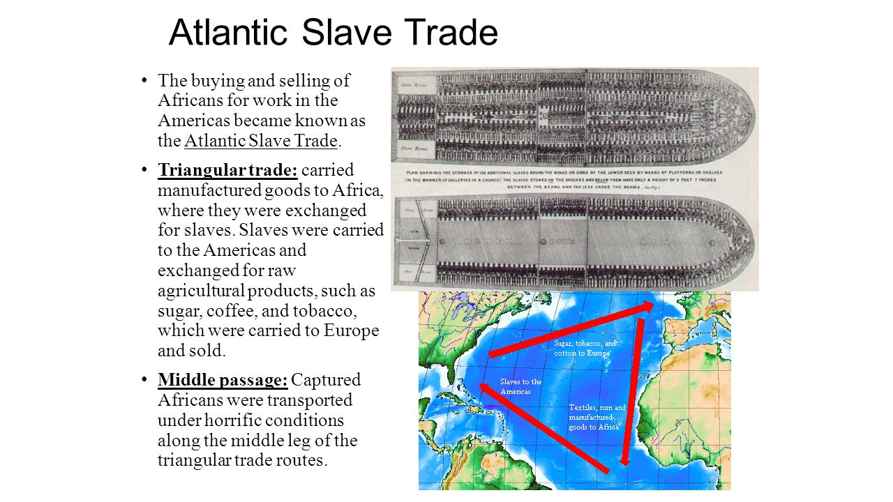 Atlantic Slave Trade The buying and selling of Africans for work in the Americas became known as the Atlantic Slave Trade. Triangular trade: carried m