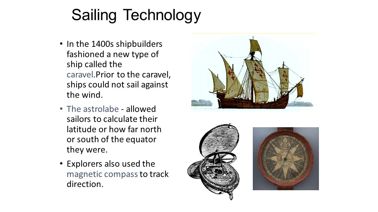 Sailing Technology In the 1400s shipbuilders fashioned a new type of ship called the caravel.Prior to the caravel, ships could not sail against the wind.