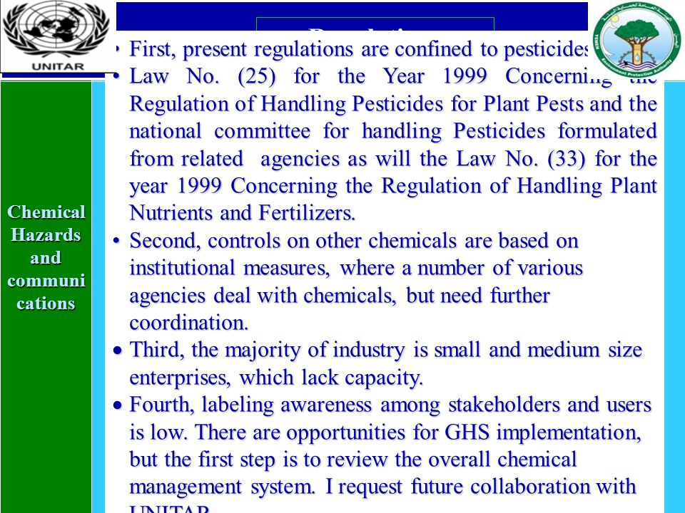Chemical Hazards and communi cations Regulations First, present regulations are confined to pesticidesFirst, present regulations are confined to pesticides is Law No.