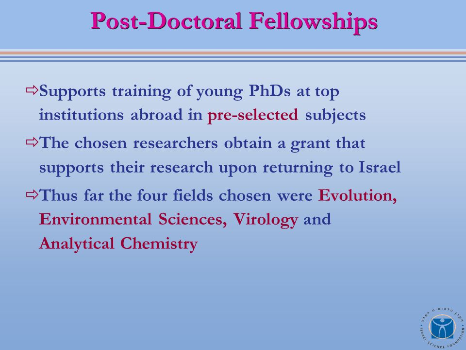  Supports training of young PhDs at top institutions abroad in pre-selected subjects  The chosen researchers obtain a grant that supports their research upon returning to Israel  Thus far the four fields chosen were Evolution, Environmental Sciences, Virology and Analytical Chemistry Post-Doctoral Fellowships