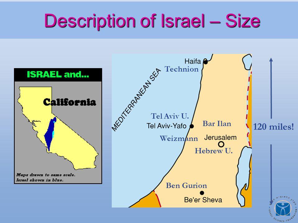 Description of Israel – Size Description of Israel – Size Technion Tel Aviv U.