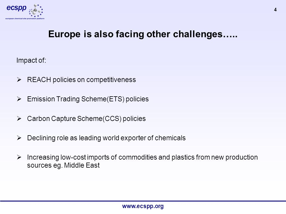 www.ecspp.org 5 Adjusting to change means doing things differently… Smarter operations are needed, not only in manufacturing but along the whole value chain:  Organization of production operations  Raw materials and feedstocks supply  Energy, utilities and services supply  Logistical infrastructure  Labour and maintenance  Health, safety and environment Clusters have an important role to play in promoting smarter operations down the value chain… The industry needs to adjust to the changing order…