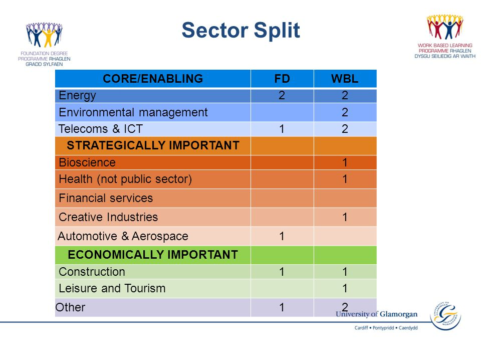 Sector Split CORE/ENABLINGFDWBL Energy22 Environmental management2 Telecoms & ICT12 STRATEGICALLY IMPORTANT Bioscience1 Health (not public sector)1 Financial services Creative Industries1 Automotive & Aerospace1 ECONOMICALLY IMPORTANT Construction11 Leisure and Tourism1 Other12