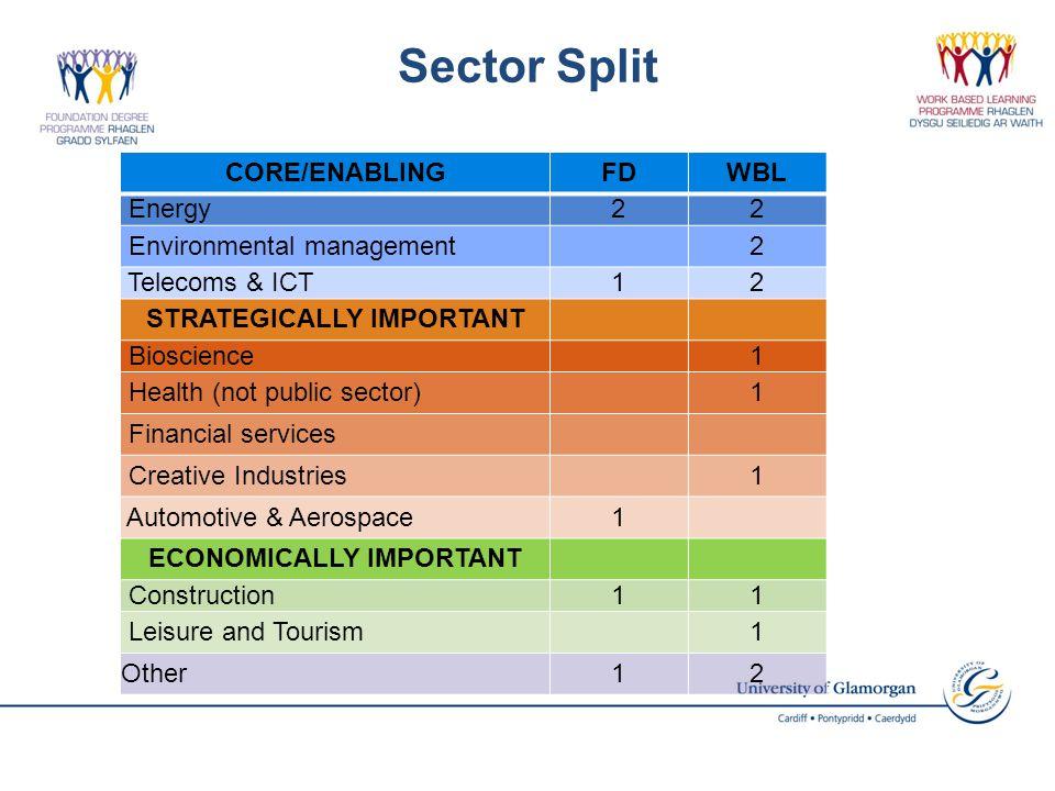 Sector Split CORE/ENABLINGFDWBL Energy22 Environmental management2 Telecoms & ICT12 STRATEGICALLY IMPORTANT Bioscience1 Health (not public sector)1 Fi