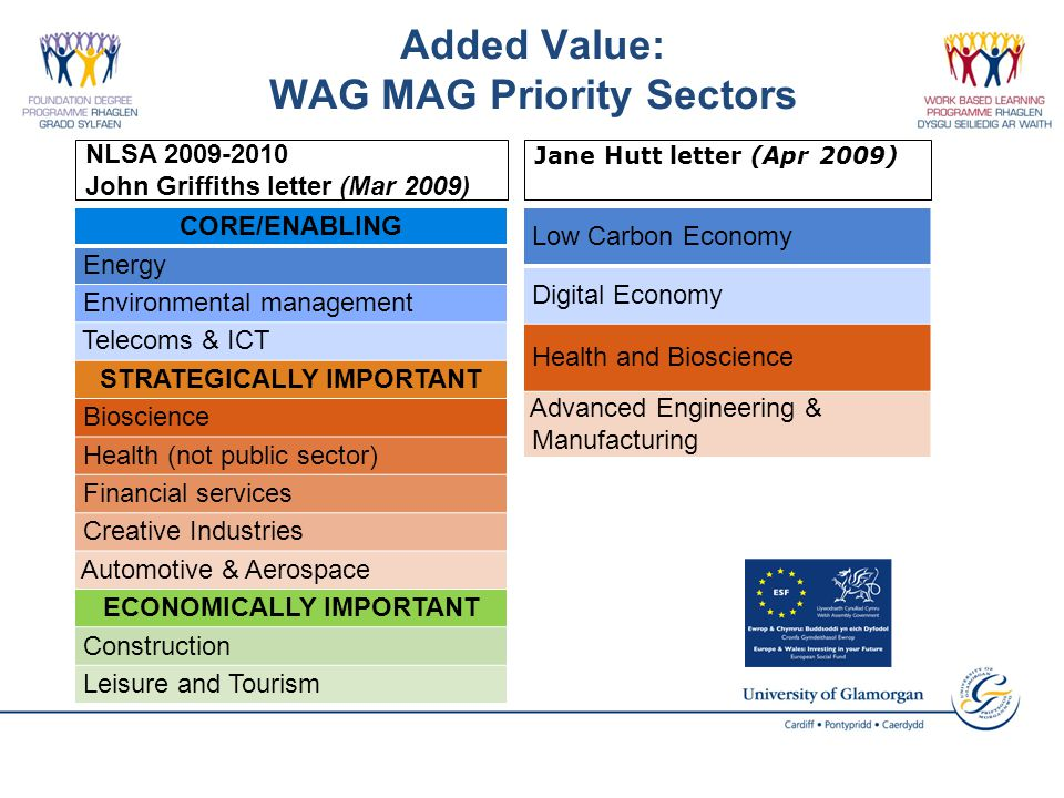 CORE/ENABLING Energy Environmental management Telecoms & ICT STRATEGICALLY IMPORTANT Bioscience Health (not public sector) Financial services Creative Industries Automotive & Aerospace ECONOMICALLY IMPORTANT Construction Leisure and Tourism Low Carbon Economy Digital Economy Health and Bioscience Advanced Engineering & Manufacturing Added Value: WAG MAG Priority Sectors Jane Hutt letter (Apr 2009) NLSA 2009-2010 John Griffiths letter (Mar 2009)