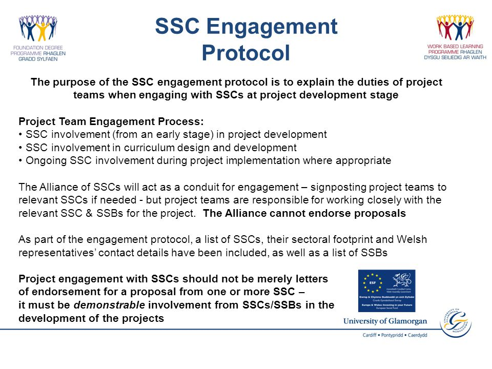 SSC Engagement Protocol The purpose of the SSC engagement protocol is to explain the duties of project teams when engaging with SSCs at project development stage Project Team Engagement Process: SSC involvement (from an early stage) in project development SSC involvement in curriculum design and development Ongoing SSC involvement during project implementation where appropriate The Alliance of SSCs will act as a conduit for engagement – signposting project teams to relevant SSCs if needed - but project teams are responsible for working closely with the relevant SSC & SSBs for the project.
