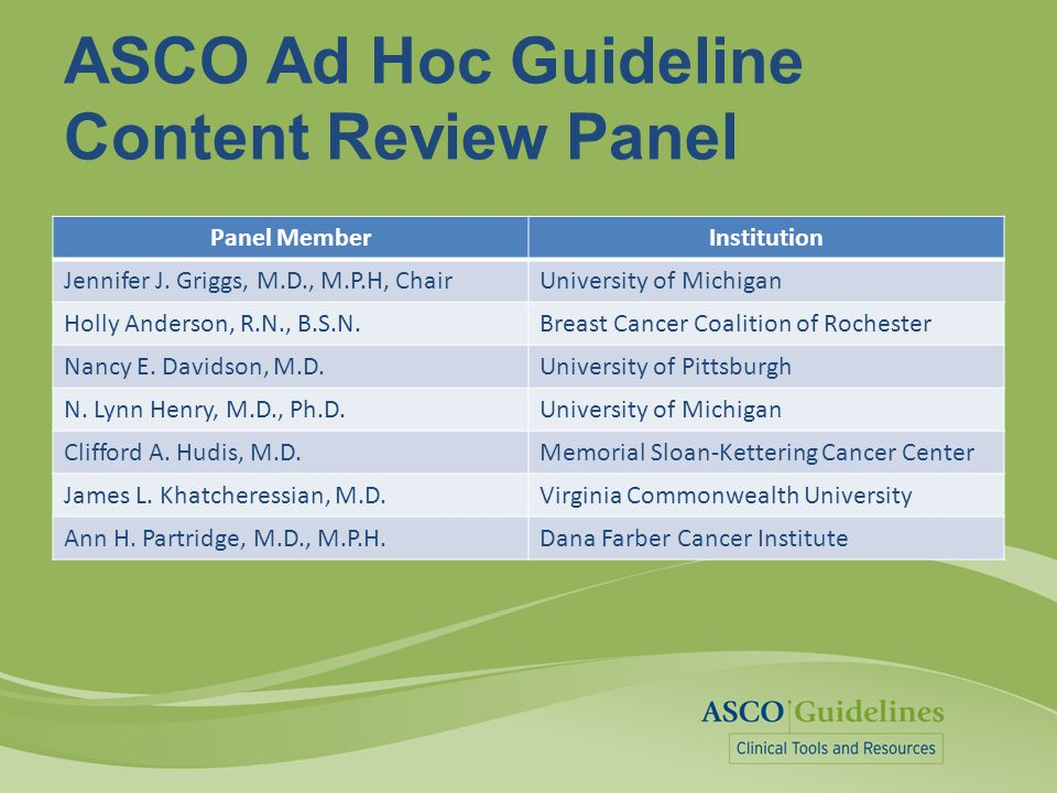 ASCO Ad Hoc Guideline Content Review Panel Panel MemberInstitution Jennifer J. Griggs, M.D., M.P.H, ChairUniversity of Michigan Holly Anderson, R.N.,