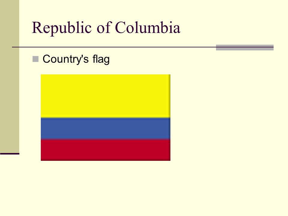 Republic of Columbia Country's flag
