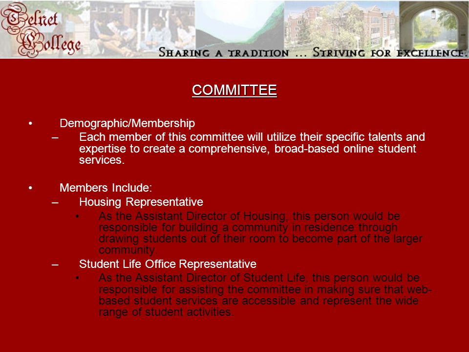 COMMITTEE Demographic/Membership –Each member of this committee will utilize their specific talents and expertise to create a comprehensive, broad-based online student services.