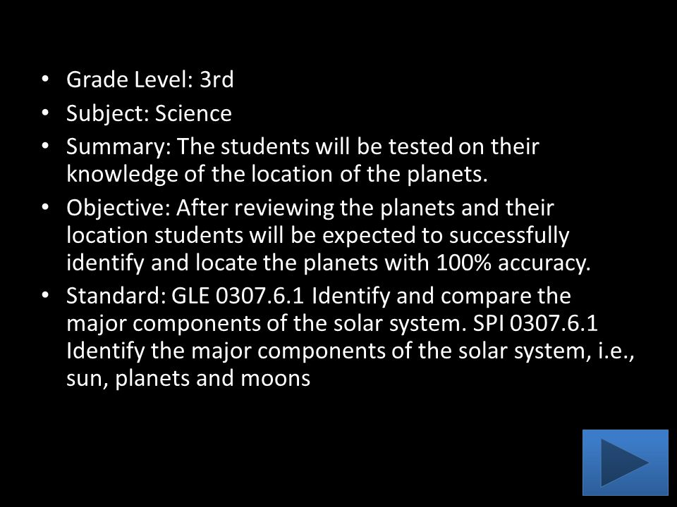 Grade Level: 3rd Subject: Science Summary: The students will be tested on their knowledge of the location of the planets. Objective: After reviewing t