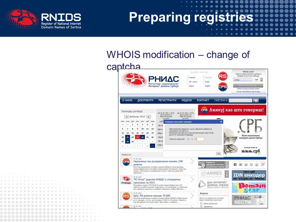 WHOIS modification – change of captcha Preparing registries