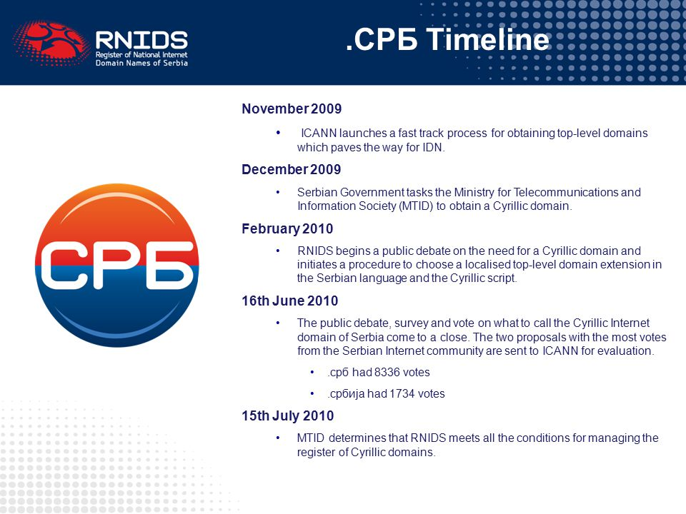 .СРБ Timeline November 2009 ICANN launches a fast track process for obtaining top-level domains which paves the way for IDN. December 2009 Serbian Gov