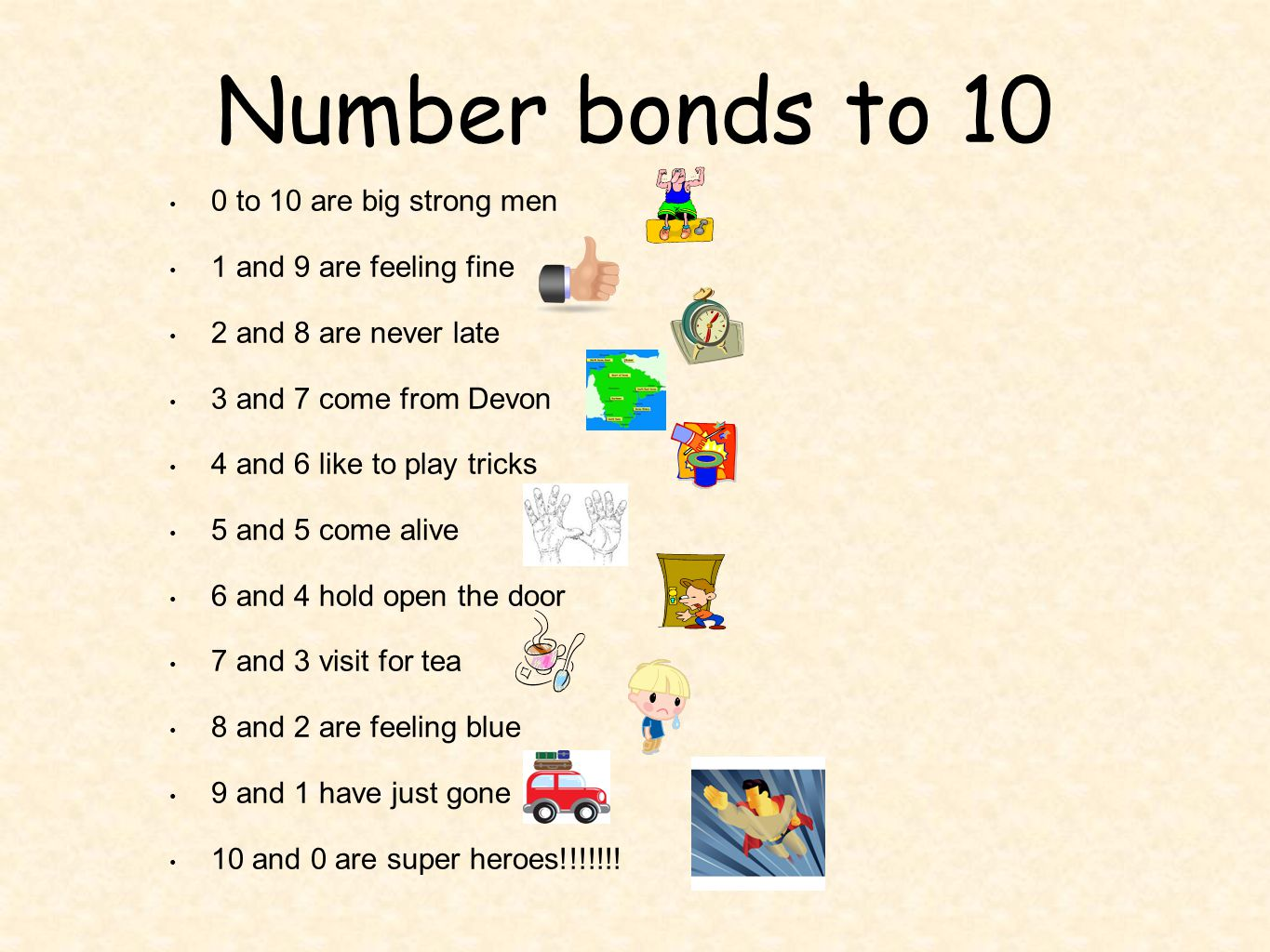 Number bonds to 10 0 to 10 are big strong men 1 and 9 are feeling fine 2 and 8 are never late 3 and 7 come from Devon 4 and 6 like to play tricks 5 and 5 come alive 6 and 4 hold open the door 7 and 3 visit for tea 8 and 2 are feeling blue 9 and 1 have just gone 10 and 0 are super heroes!!!!!!!