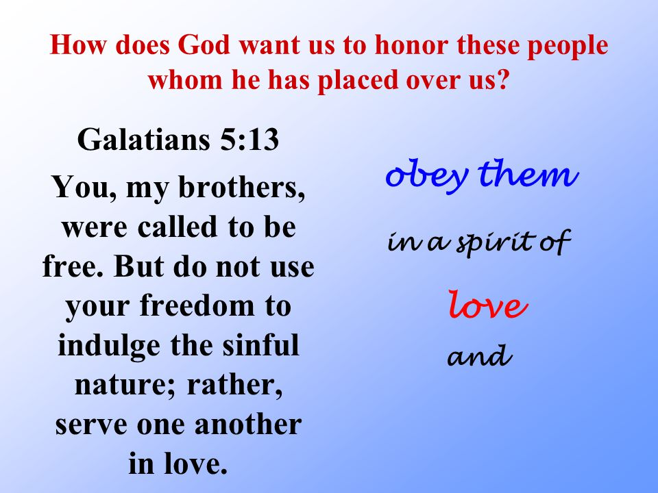 How does God want us to honor these people whom he has placed over us.