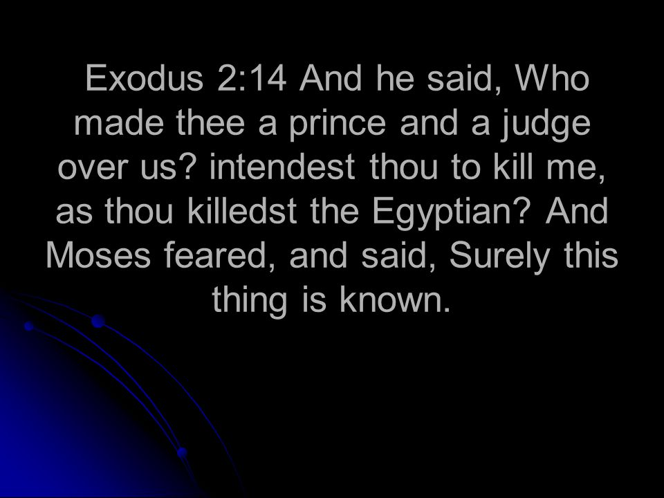Exodus 2:14 And he said, Who made thee a prince and a judge over us.