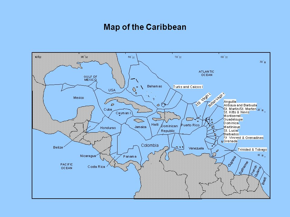 Map of the Caribbean