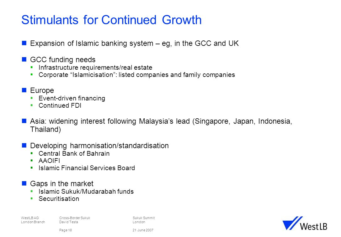 WestLB AG Cross-Border Sukuk Sukuk Summit London Branch David TestaLondon Page 1821 June 2007 Stimulants for Continued Growth Expansion of Islamic banking system – eg, in the GCC and UK GCC funding needs  Infrastructure requirements/real estate  Corporate Islamicisation : listed companies and family companies Europe  Event-driven financing  Continued FDI Asia: widening interest following Malaysia's lead (Singapore, Japan, Indonesia, Thailand) Developing harmonisation/standardisation  Central Bank of Bahrain  AAOIFI  Islamic Financial Services Board Gaps in the market  Islamic Sukuk/Mudarabah funds  Securitisation