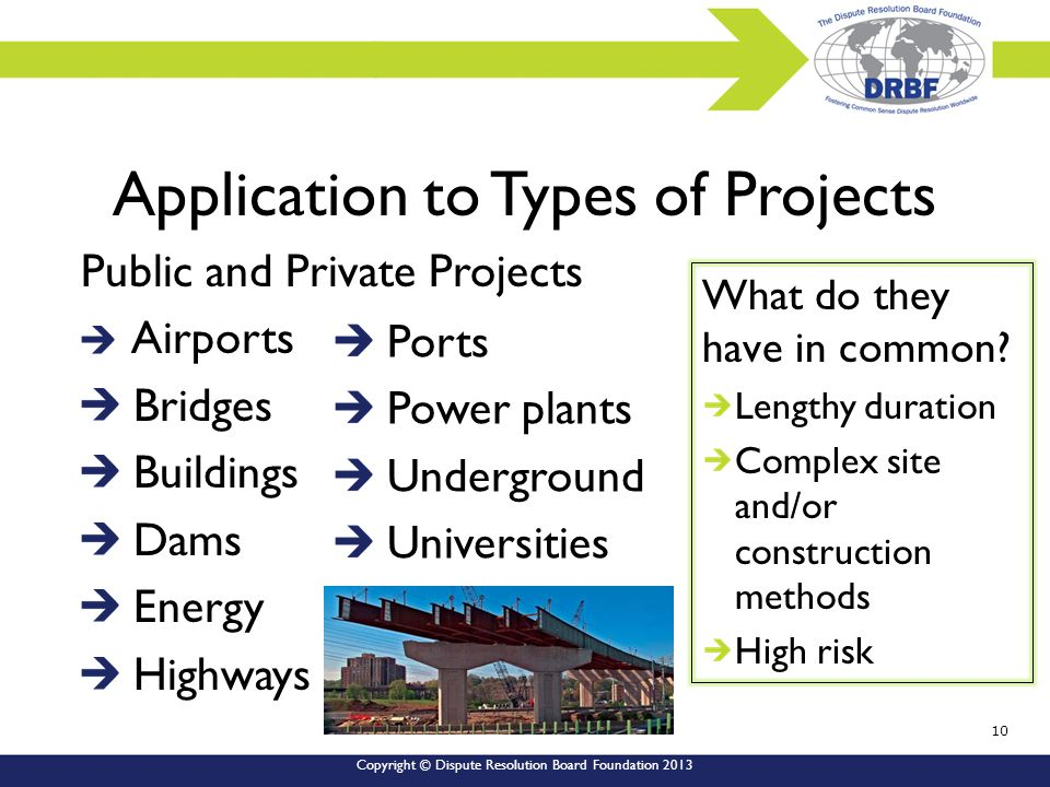 Copyright © Dispute Resolution Board Foundation 2013 Public and Private Projects Airports Bridges Buildings Dams Energy Highways Ports Power plants Underground Universities Application to Types of Projects What do they have in common.