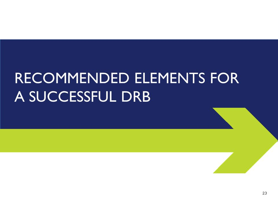 RECOMMENDED ELEMENTS FOR A SUCCESSFUL DRB 23