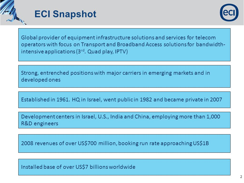 Confidential, not for distribution 2 ECI Snapshot Global provider of equipment infrastructure solutions and services for telecom operators with focus on Transport and Broadband Access solutions for bandwidth- intensive applications (3 rd.