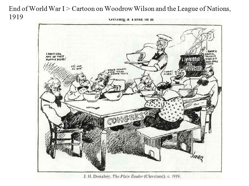 End of World War I > Cartoon on Woodrow Wilson and the League of Nations, 1919