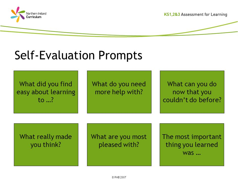 © PMB 2007 Self-Evaluation Prompts What did you find easy about learning to ….