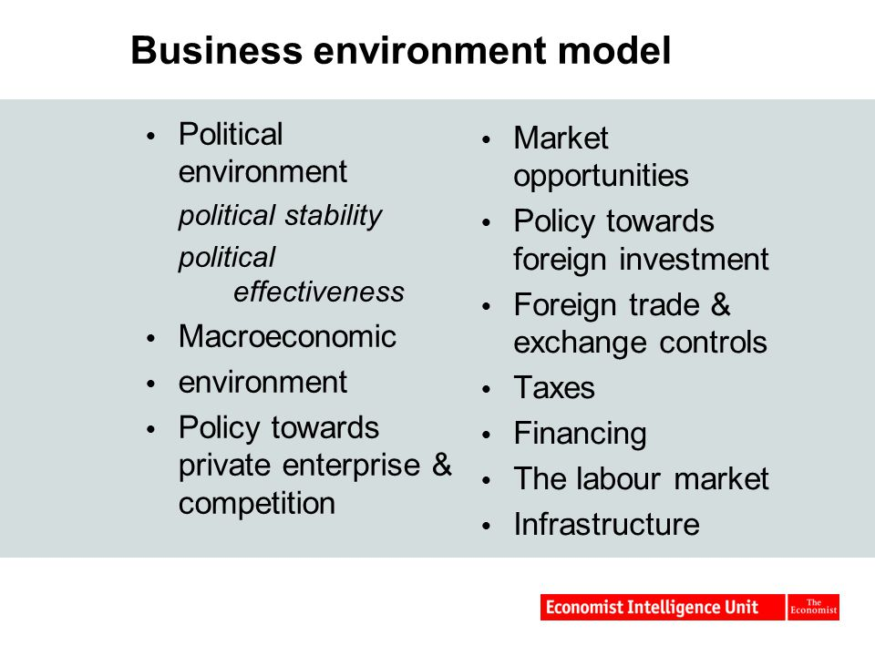 Business environment model  Political environment political stability political effectiveness  Macroeconomic  environment  Policy towards private enterprise & competition  Market opportunities  Policy towards foreign investment  Foreign trade & exchange controls  Taxes  Financing  The labour market  Infrastructure