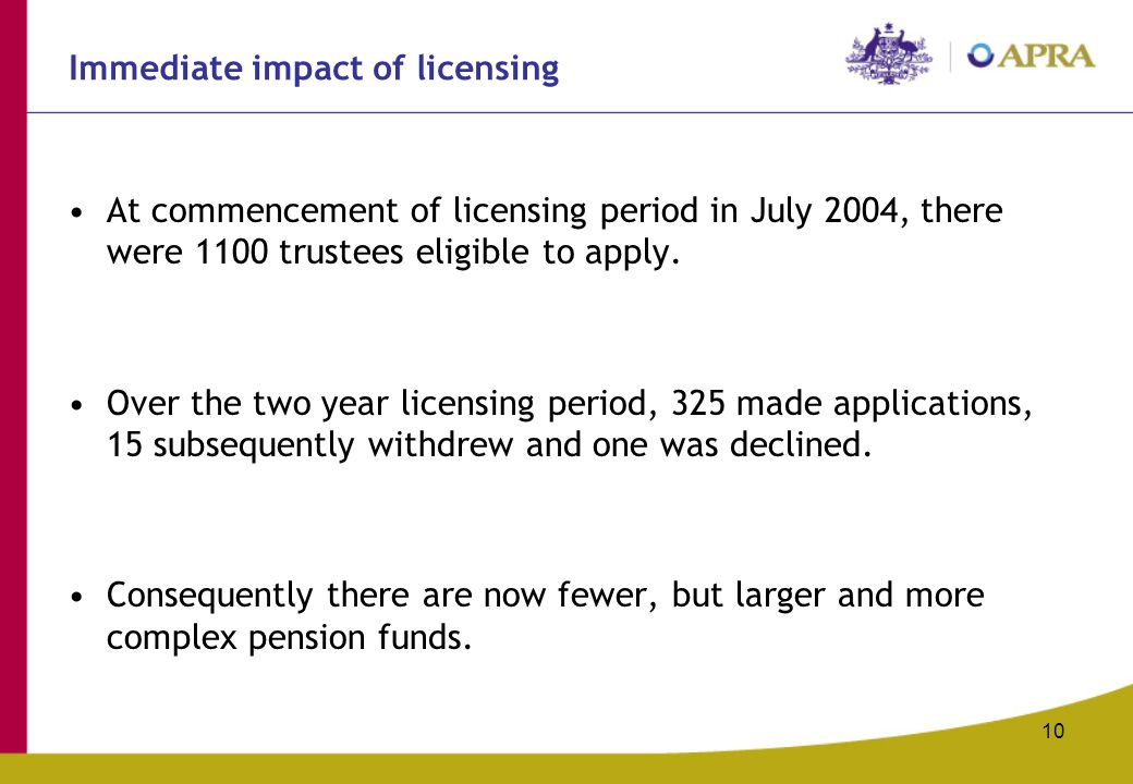 10 Immediate impact of licensing At commencement of licensing period in July 2004, there were 1100 trustees eligible to apply. Over the two year licen