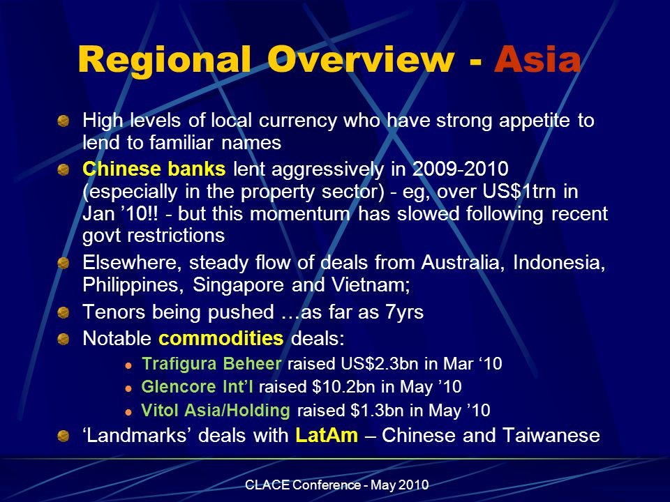 CLACE Conference - May 2010 Regional Overview - Asia High levels of local currency who have strong appetite to lend to familiar names Chinese banks lent aggressively in 2009-2010 (especially in the property sector) - eg, over US$1trn in Jan '10!.