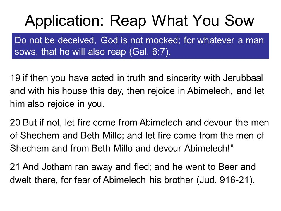 Application: Reap What You Sow Do not be deceived, God is not mocked; for whatever a man sows, that he will also reap (Gal.