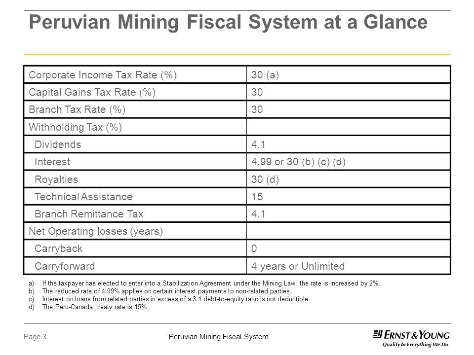 Peruvian Mining Fiscal SystemPage 3 Peruvian Mining Fiscal System at a Glance Corporate Income Tax Rate (%)30 (a) Capital Gains Tax Rate (%)30 Branch Tax Rate (%)30 Withholding Tax (%) Dividends4.1 Interest4.99 or 30 (b) (c) (d) Royalties30 (d) Technical Assistance15 Branch Remittance Tax4.1 Net Operating losses (years) Carryback0 Carryforward4 years or Unlimited a)If the taxpayer has elected to enter into a Stabilization Agreement under the Mining Law, the rate is increased by 2%.