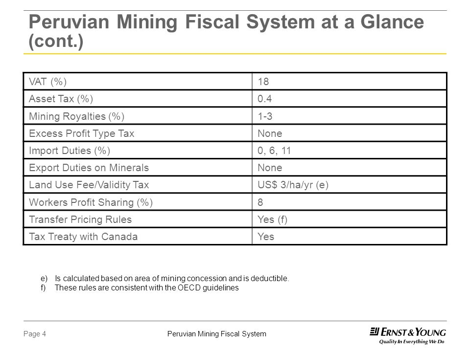 Peruvian Mining Fiscal SystemPage 4 Peruvian Mining Fiscal System at a Glance (cont.) VAT (%)18 Asset Tax (%)0.4 Mining Royalties (%)1-3 Excess Profit Type TaxNone Import Duties (%)0, 6, 11 Export Duties on MineralsNone Land Use Fee/Validity TaxUS$ 3/ha/yr (e) Workers Profit Sharing (%)8 Transfer Pricing RulesYes (f) Tax Treaty with CanadaYes e)Is calculated based on area of mining concession and is deductible.