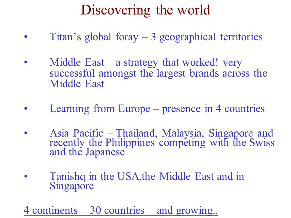 Discovering the world Titan's global foray – 3 geographical territories Middle East – a strategy that worked! very successful amongst the largest bran