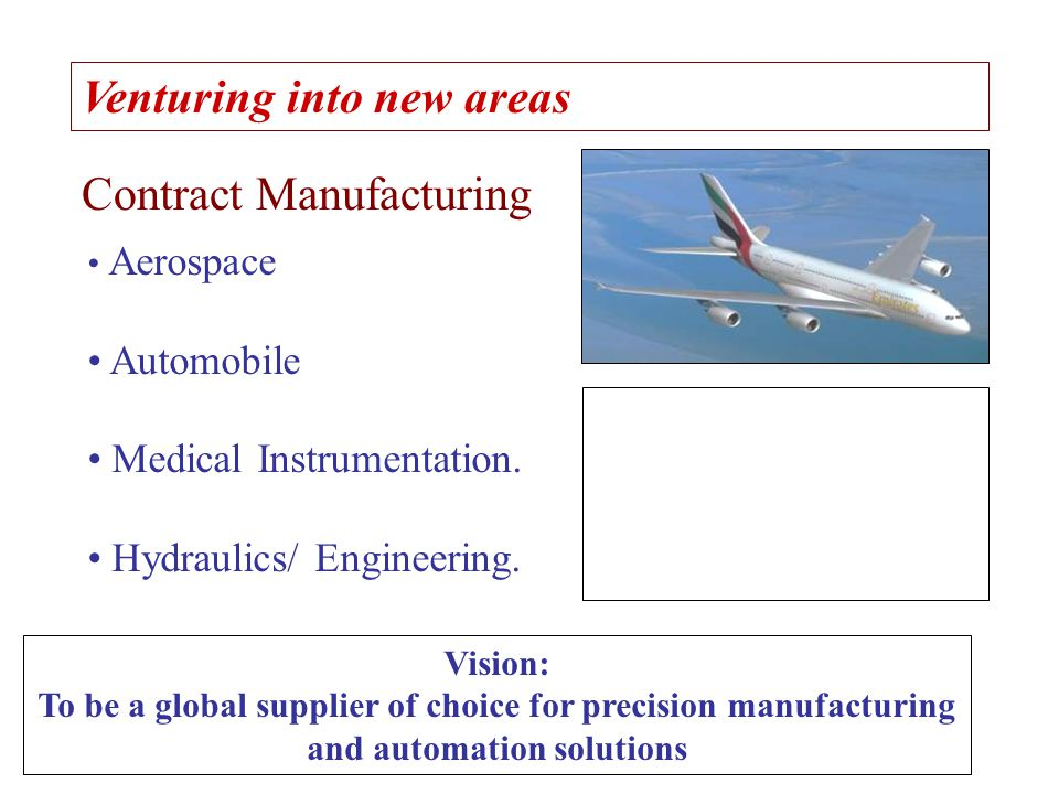Venturing into new areas Contract Manufacturing Aerospace Automobile Medical Instrumentation. Hydraulics/ Engineering. Vision: To be a global supplier
