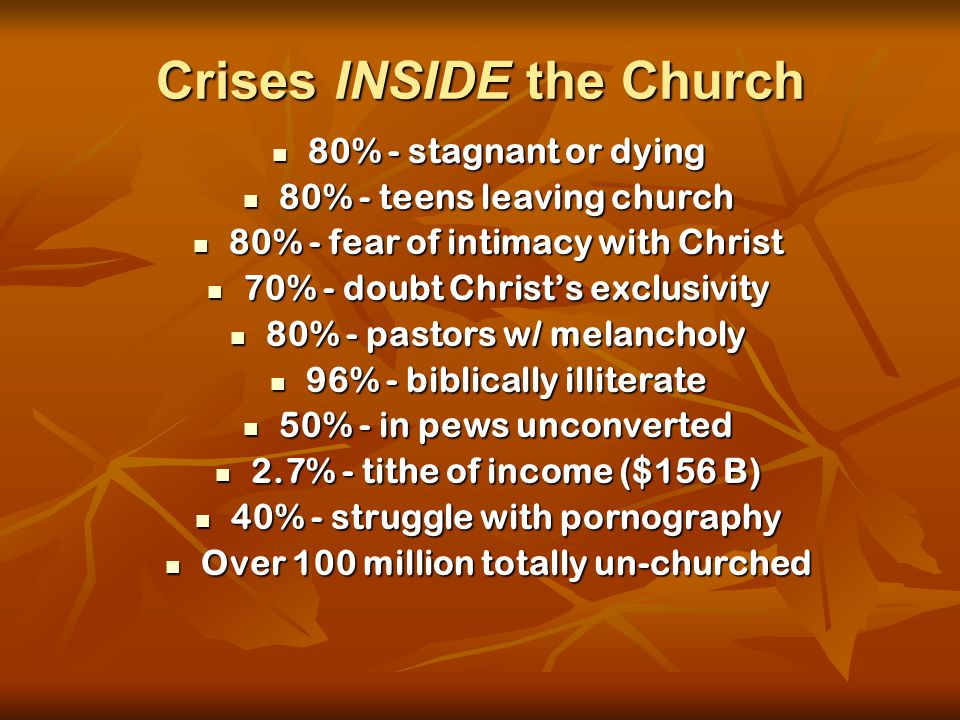Crises INSIDE the Church 80% - stagnant or dying 80% - stagnant or dying 80% - teens leaving church 80% - teens leaving church 80% - fear of intimacy