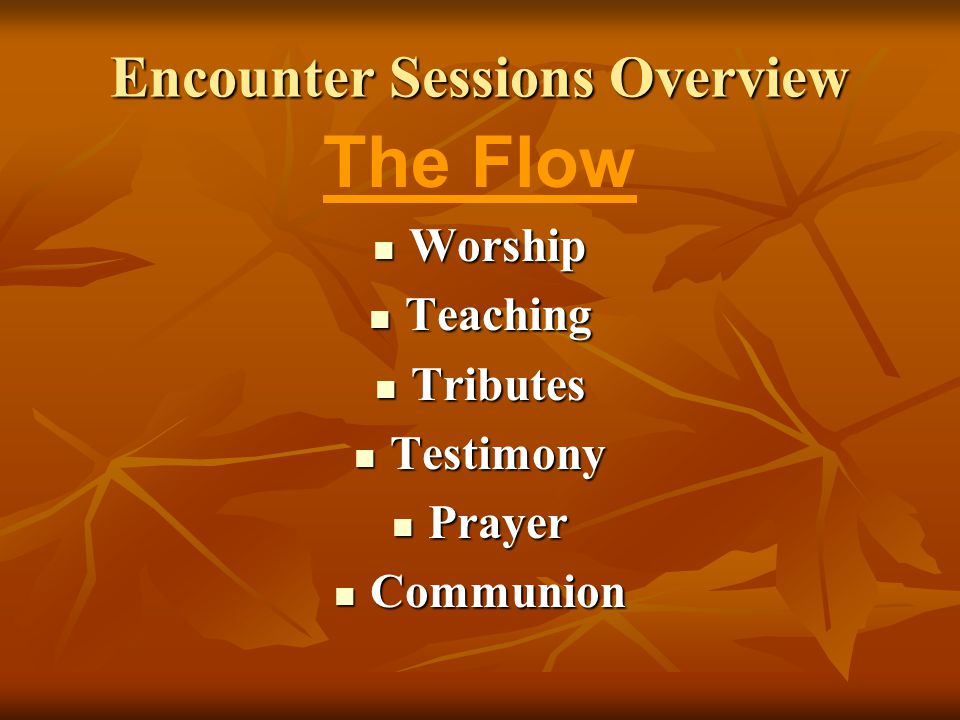 Encounter Sessions Overview The Flow Worship Worship Teaching Teaching Tributes Tributes Testimony Testimony Prayer Prayer Communion Communion