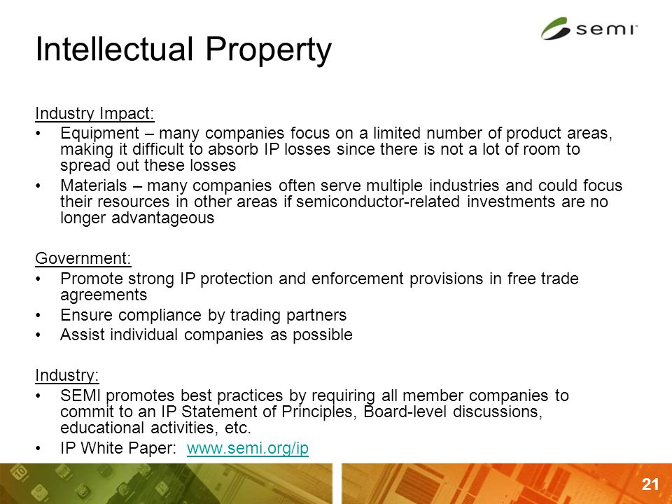 21 Intellectual Property Industry Impact: Equipment – many companies focus on a limited number of product areas, making it difficult to absorb IP loss