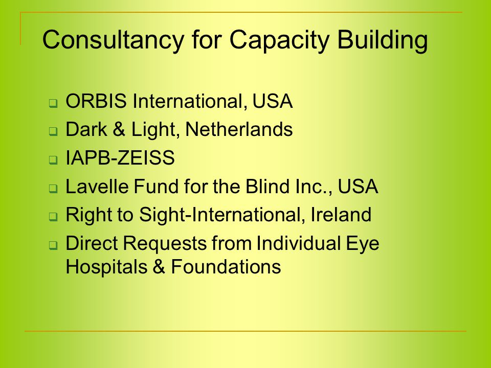 Consultancy for Capacity Building  ORBIS International, USA  Dark & Light, Netherlands  IAPB-ZEISS  Lavelle Fund for the Blind Inc., USA  Right to Sight-International, Ireland  Direct Requests from Individual Eye Hospitals & Foundations