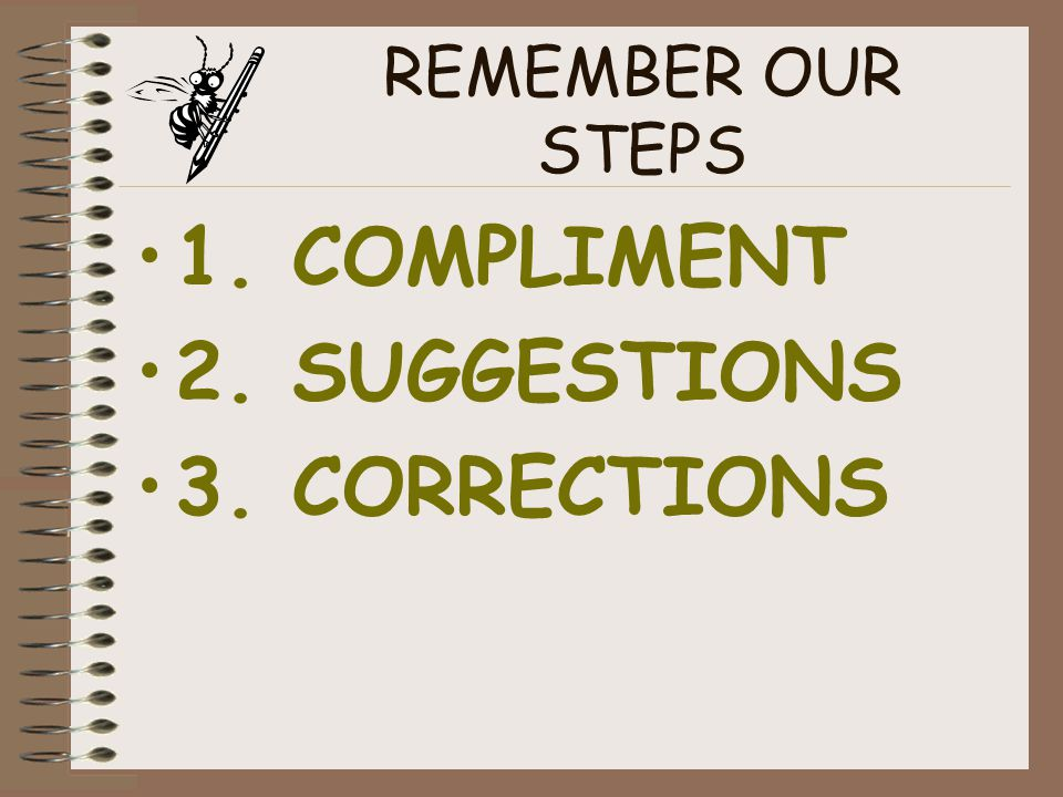 REMEMBER OUR STEPS 1. COMPLIMENT 2. SUGGESTIONS 3. CORRECTIONS