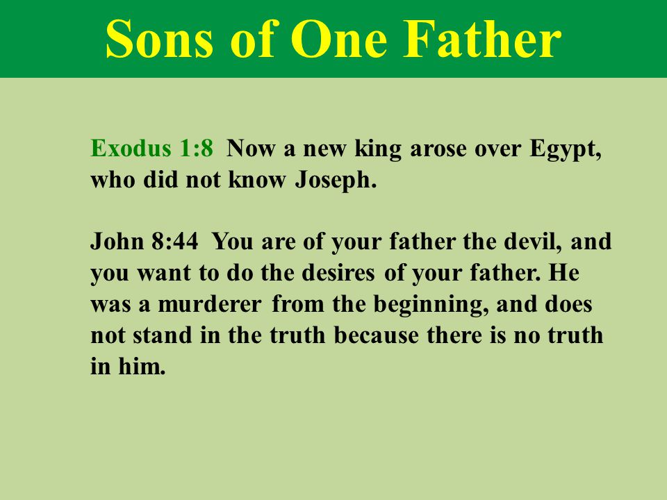 Sons of One Father Exodus 1:8 Now a new king arose over Egypt, who did not know Joseph.