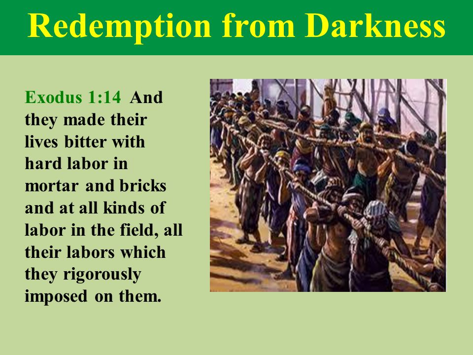 Redemption from Darkness Exodus 1:14 And they made their lives bitter with hard labor in mortar and bricks and at all kinds of labor in the field, all their labors which they rigorously imposed on them.