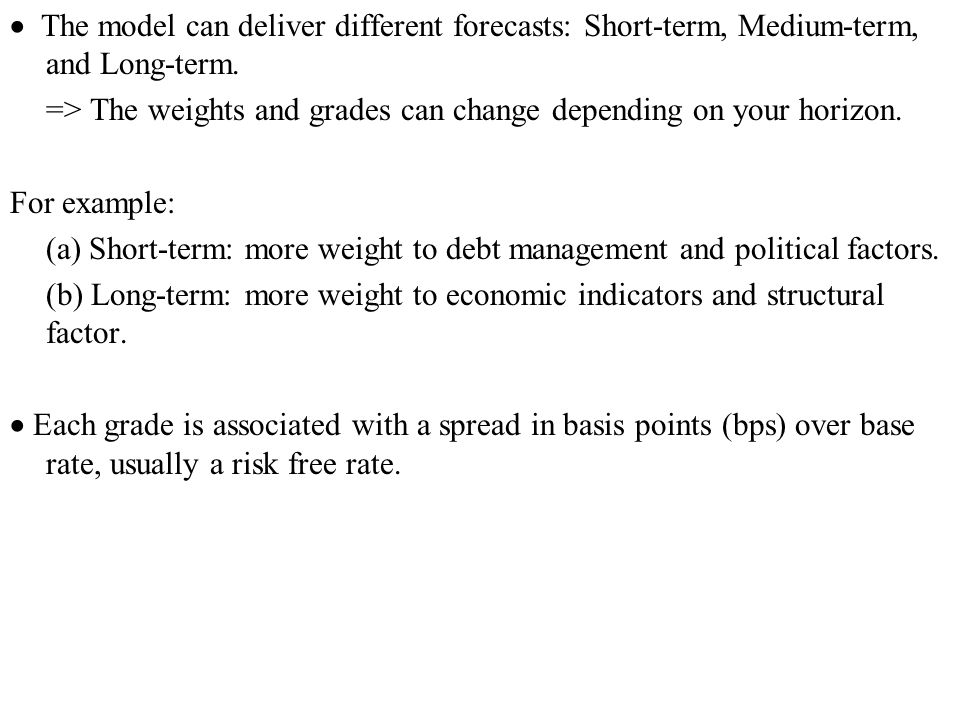  The model can deliver different forecasts: Short-term, Medium-term, and Long-term.