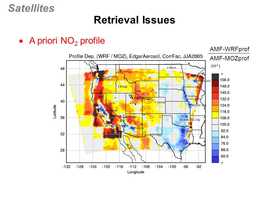 Satellites  A priori NO 2 profile Retrieval Issues (prof2) AMF-WRFprof AMF-MOZprof